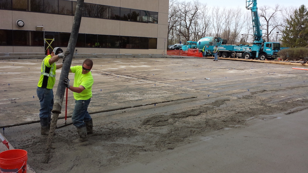 Bigelow and Company pouring concrete
